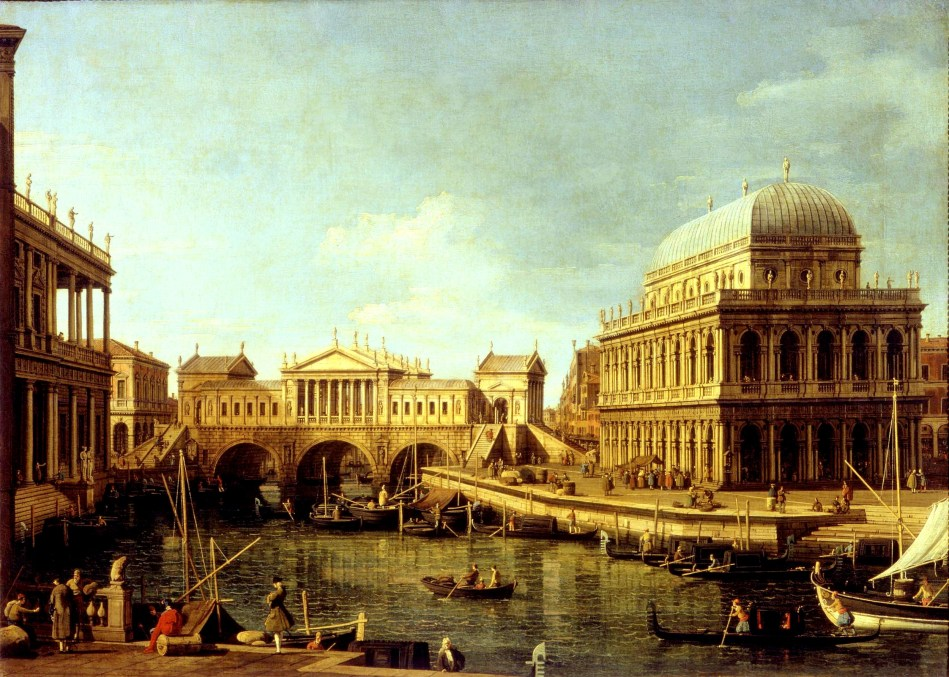 Canaletto – Galleria Nazionale di Parma N. 284 . Title: Capriccio con edifici palladiani. Date: 1756-1759. Materials: oil on canvas. Dimensions: 58 x 82 cm. Nr.: N. 284. Source: http://www.parmabeniartistici.beniculturali.it/galleria-nazionale-di-parma/wp-content/uploads/sites/3/2013/08/inv-0284-canaletto-capriccio-con-edifici-palladianiok._ridjpg.jpg. I have changed the light, contrast and colors of the original photo.