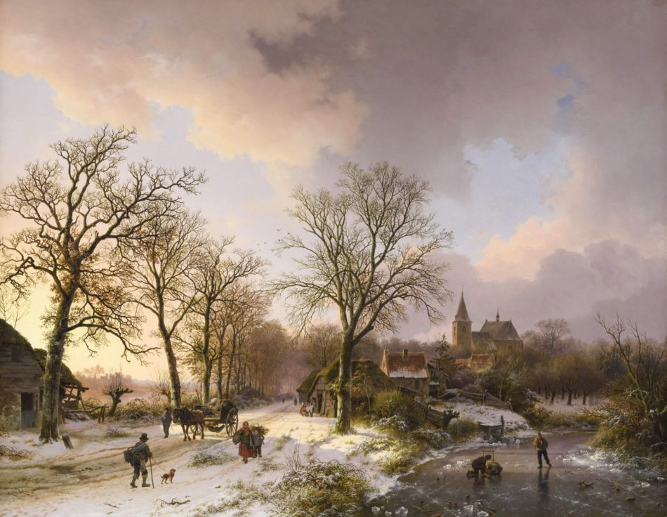 Barend Cornelis Koekkoek - Bies Kunsthandel. Title: Winterlandschap met figuren te Bedburg (tegenwoordig Bedburg-Hau) bij Kleef. Date: 1842. Materials: oil on panel. Dimensions: 74.5 x 95.3 cm. Inscriptions: signed and dated (lower left); Village de Bedbourg a 1 lieu et demi de Cleve […] (verso). http://www.kunsthandelbies.nl/wp-content/uploads/koekkoek-barend-cornelis-winterlandschap-met-figuren-te-bedburg-tegenwoordig-bedburg-hau-bij-kleef-e1468417880397.jpg. I have changed the light and contrast of the original photo. P.S. The image of this painting is better than the one posted sometime ago.