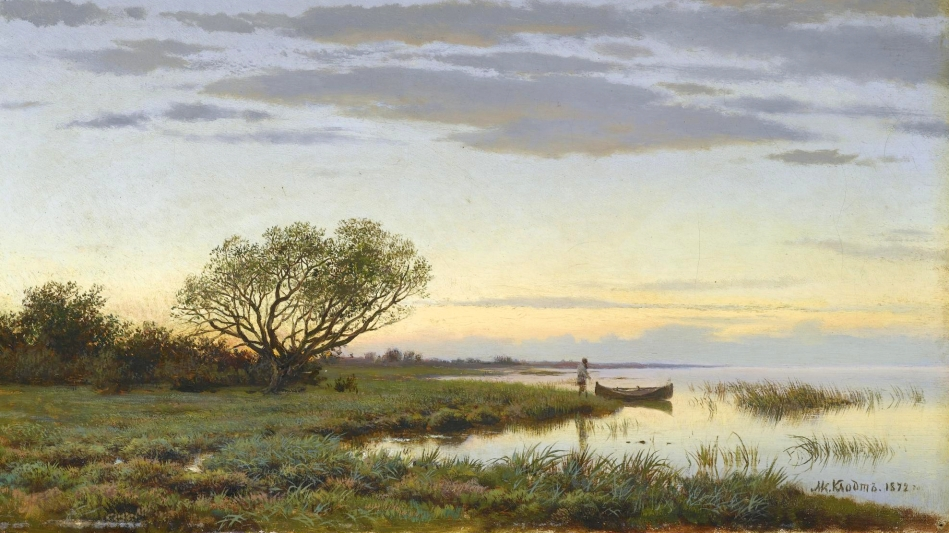 Mikhail Klodt – private collection. Title: Twilight. Date: 1872. Materials: oil on canvas. Dimensions: 27.5 x 47.5 cm. Sold by Sotheby's in London, on November 30, 2009. Source: http://www.sothebys.com/content/dam/stb/lots/L09/L09674/L09674-201-lr-1.jpg. I have changed the light of the original photo.