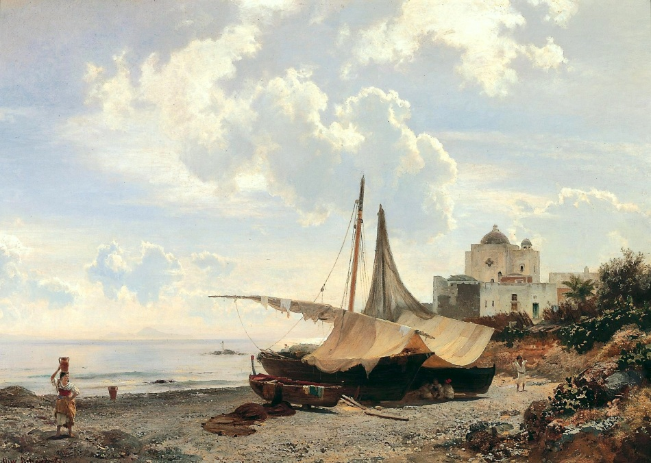 Oswald Achenbach – Pommersches Landesmuseum. Title: Torre del Greco. Date: c. 1850-1900. Materials: oil on canvas. Dimensions: 66.2 x 93.7 cm. Source: https://commons.wikimedia.org/wiki/File:Oswald_Achenbach_-_Torre_del_Greco.jpg. I have changed the light and contrast of the original photo.