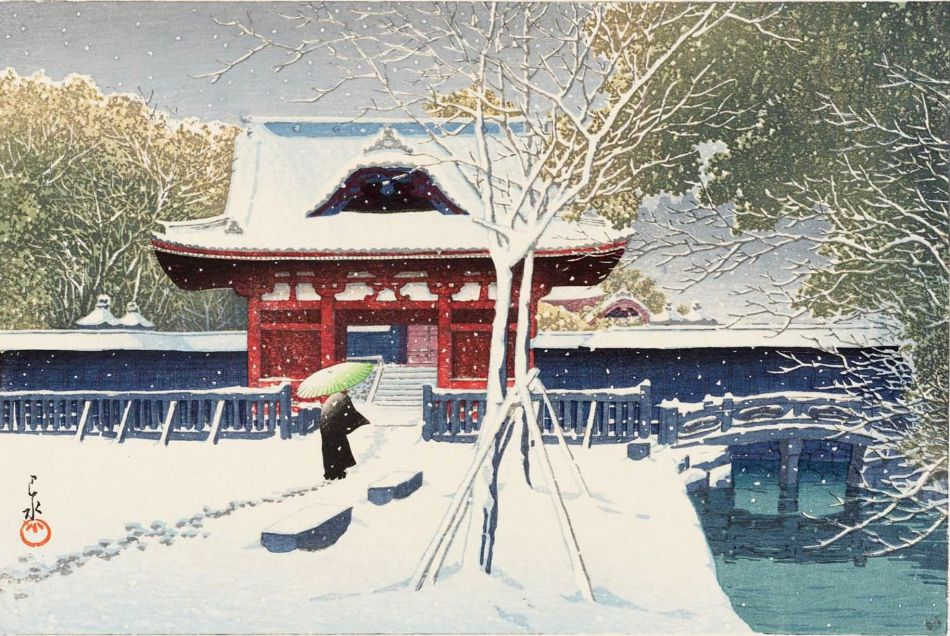 Hasui Kawase – Ronin Gallery . Title: Snow at Shiba Park, Tokyo. Date: 1931. Materials: woodblock print. Dimensions: 26.7 x 	 40 cm. Source: https://data.ukiyo-e.org/mfa/images/sc205910.jpg. I have changed the light and contrast of the original photo.