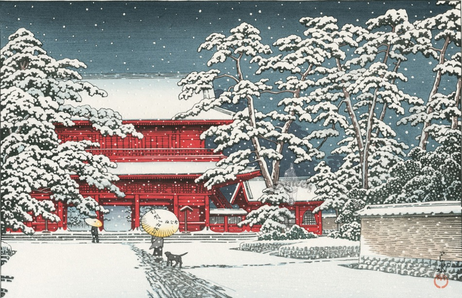 Hasui Kawase – private collection. Title: Zoioji Temple in Snow. Date: 1929. Materials: Woodblock print. Dimensions: 24 x 36.5 cm. Source: http://www.panteek.com/hasui/images/shn216-231.jpg.