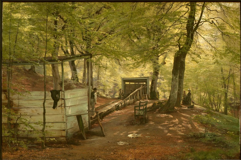 Carl Frederik Peder Aagaard – Nationalmuseum (Stockholm) NM 1358. Title Skittle-alley in Saeby Forest. Spring Morning. Date: 1882. Materials: oil on canvas. Dimensions: 83 x 125 cm. Acquisition date: 1883. Nr.: NM 1358. Source: https://commons.wikimedia.org/wiki/File:Skittle-alley_in_Saeby_Forest._Spring_Morning_(Carl_Fredrik_Aagaard)_-_Nationalmuseum_-_18361.tif. I have changed the light and contrast of the original photo.forest