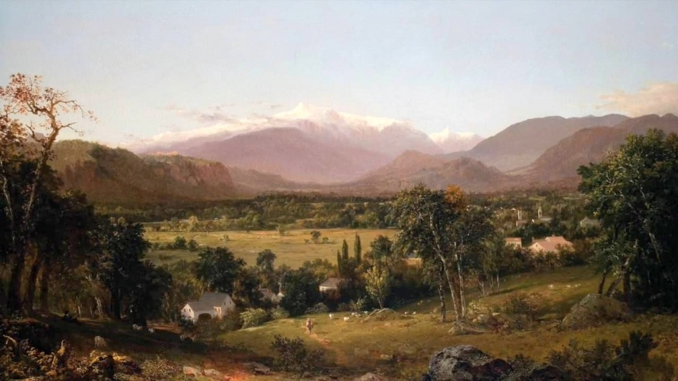 John Frederick Kensett – The Davis Museum at Wellesley College 1977.37. Title: Mount Washington from the Valley of Conway. Date: 1851. Materials: oil on canvas. Dimensions: 153.4 x 102.6 cm. Nr.: 1977.37. Source: https://i.vimeocdn.com/video/592496704.jpg?mw=1920&mh=1080&q=70. I have changed the light and contrast of the original photo.