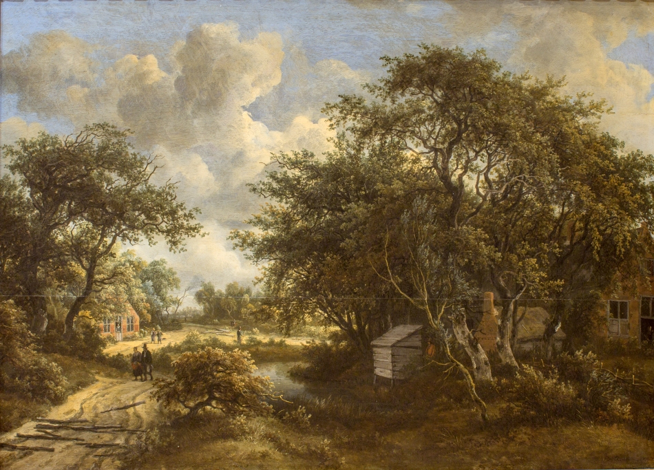 Meindert Hobbema – Statens Museum for Kunst KMS3888. Title: A Village among Trees. Date: c. 1660s. Materials: oil on pamel. Dimensions: 60 x 82 cm. Nr.: KMS3888. Source: http://cspic.smk.dk/globus/CORPUS%202016/KMS3888.JPG. I have changed the light and contrast of the original photo.