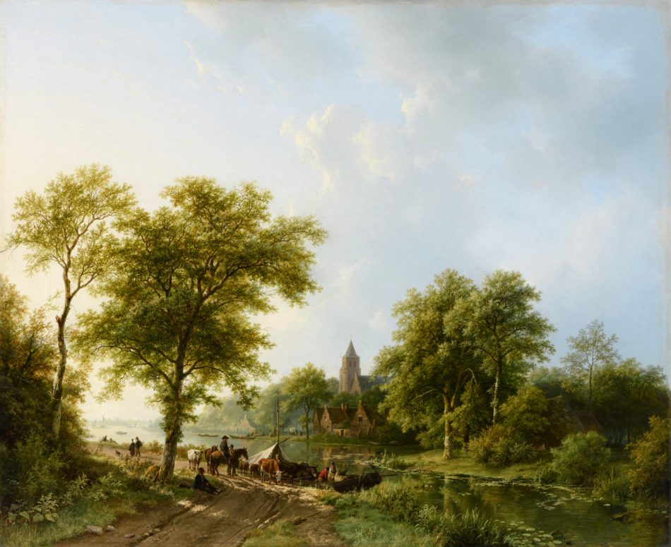 Barend Cornelis Koekkoek – Bies Kunsthandel. Title: Zomers rivierlandschap met figuren en vee bij een overzetveer. Date: 1838. Materials: oil on canvas. Dimensions: 69.7 x 85.7 cm. Source: http://www.kunsthandelbies.nl/wp-content/uploads/koekkoek-barend-cornelis-zomers-rivierlandschap-met-figuren-en-vee-bij-een-overzetveer-e1468417964534.jpg. I have changed the light and contrast of the original photo.
