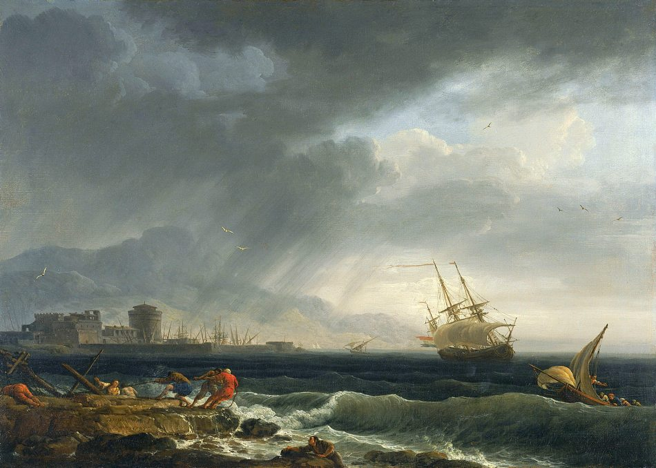 Claude-Joseph Vernet – Museo Thyssen-Bornemisza 420 (1983.22). Title: A Stormy Sea. Date: 1748. Materials: oil on canvas. Dimensions: 44.5 x 60.5 cm. Nr.: 420 (1983.22). Source: http://artifexinopere.com/wp-content/uploads/2017/01/Vernet-1748-mer-tempetueuse-Musee-Thyssen-Bornemiza-Madrid-.jpg. I have changed the light and contrast of the original photo.
