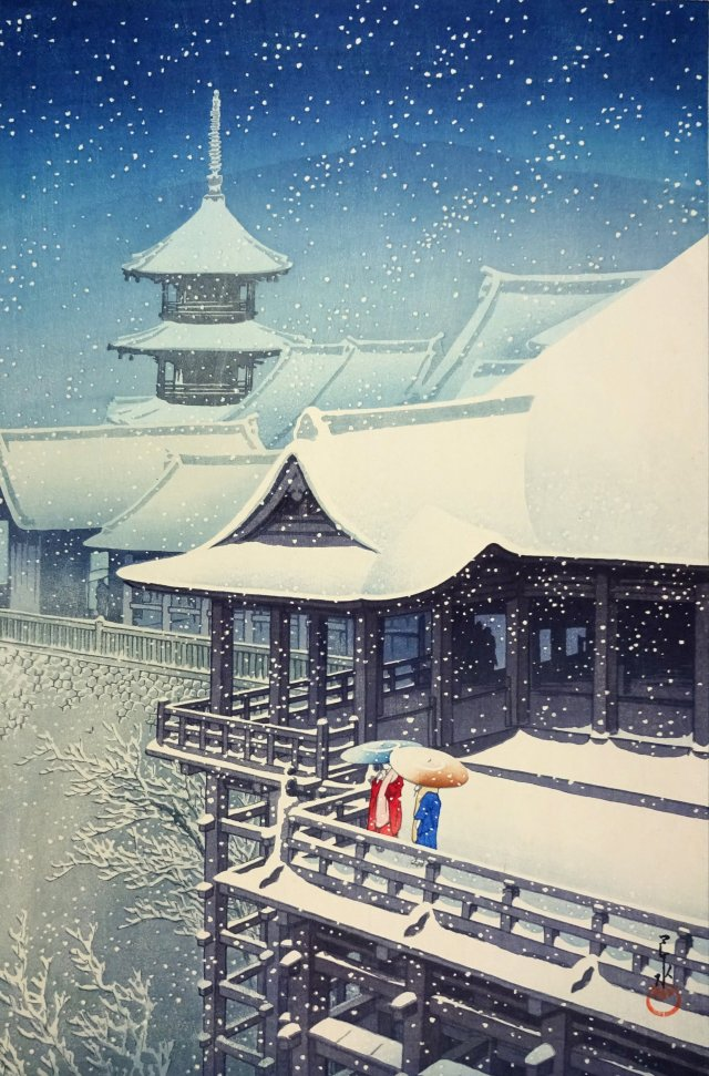Hasui Kawase – private collection. Snow at Kiyomizu Temple, Kyoto (1932) |  elsewhere